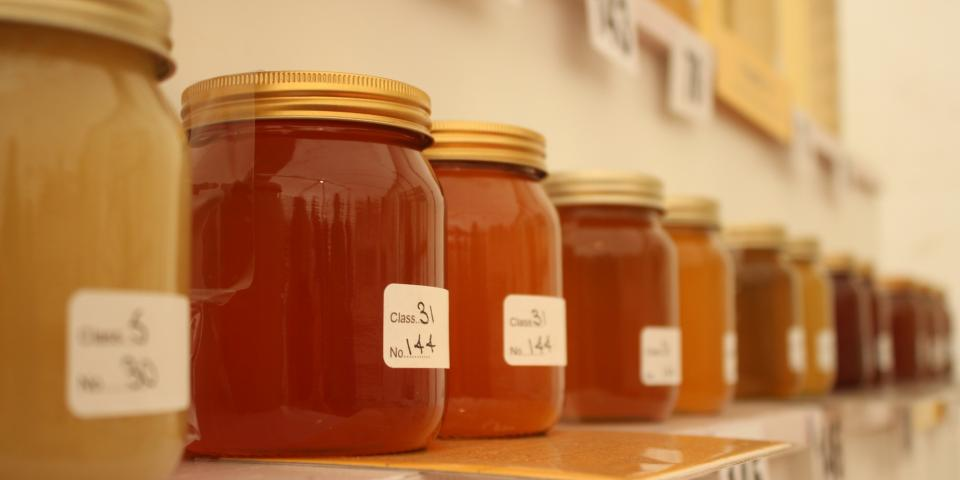 Jars of honey at Devon County Show 2016