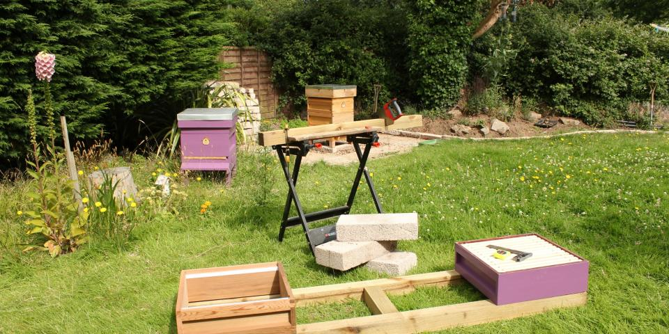 Beehive stand in progress